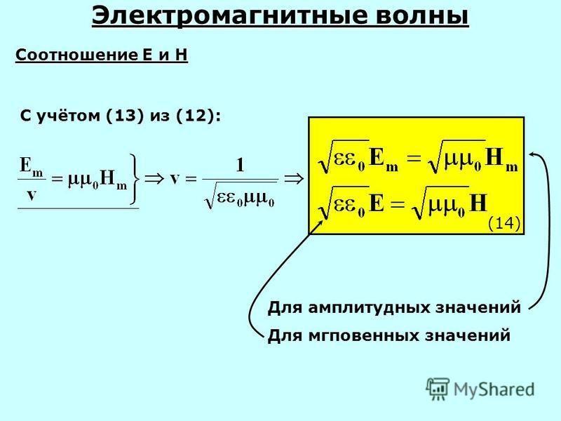 Электромагнитные волны С учётом (13) из (12): Соотношение Е и Н (14) Для амплитудных значений Для мгповенных значений