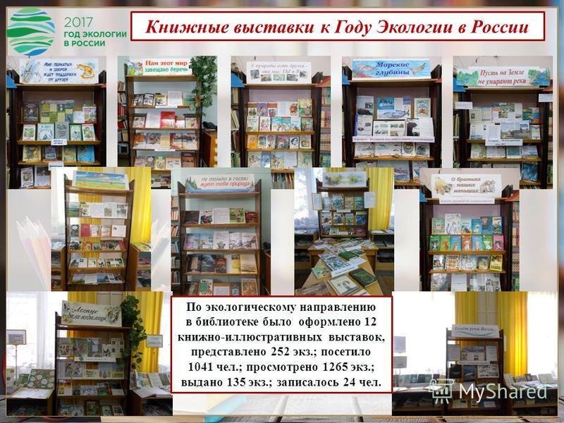 http://presentation-creation.ru/ Книжные выставки к Году Экологии в России По экологическому направлению в библиотеке было оформлено 12 книжно-иллюстративных выставок, представлено 252 экз.; посетило 1041 чел.; просмотрено 1265 экз.; выдано 135 экз.;