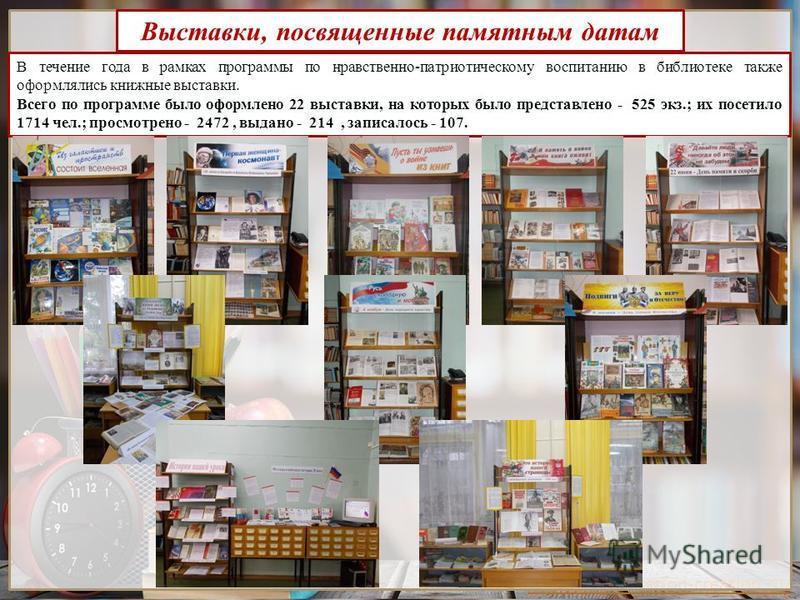 http://presentation-creation.ru/ В течение года в рамках программы по нравственно-патриотическому воспитанию в библиотеке также оформлялись книжные выставки. Всего по программе было оформлено 22 выставки, на которых было представлено - 525 экз.; их п