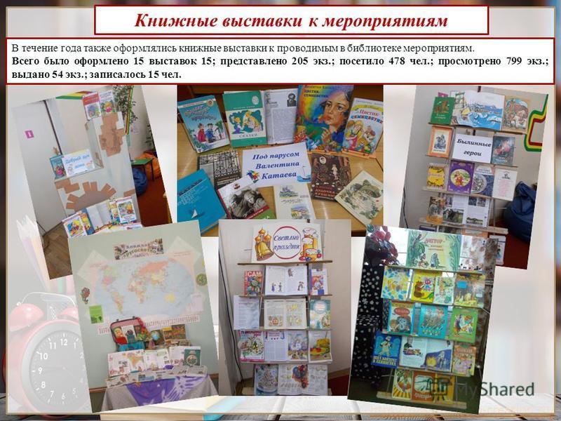 http://presentation-creation.ru/ Книжные выставки к мероприятиям В течение года также оформлялись книжные выставки к проводимым в библиотеке мероприятиям. Всего было оформлено 15 выставок 15; представлено 205 экз.; посетило 478 чел.; просмотрено 799