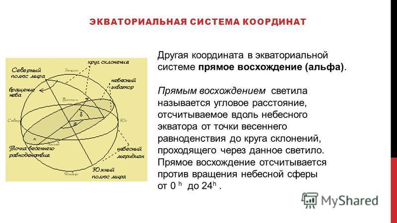 ЭКВАТОРИАЛЬНАЯ СИСТЕМА КООРДИНАТ Другая координата в экваториальной системе прямое восхождение (альфа). Прямым восхождением светила называется угловое расстояние, отсчитываемое вдоль небесного экватора от точки весеннего равноденствия до круга склоне
