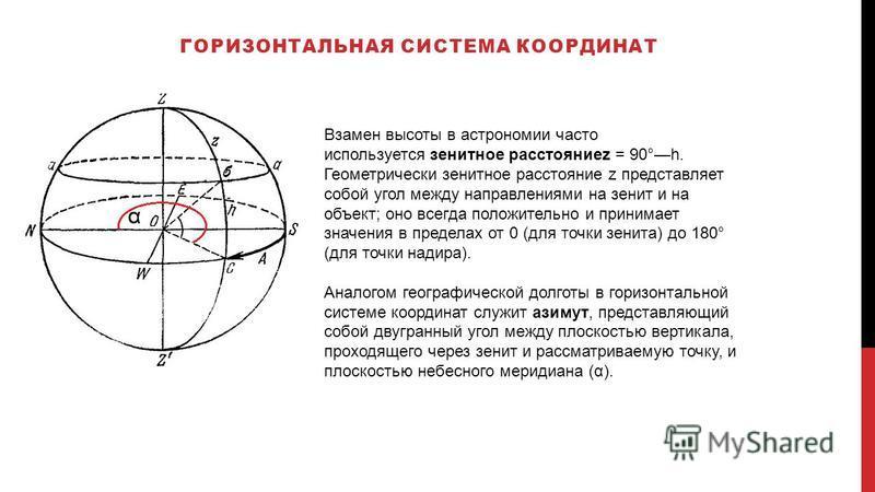 ГОРИЗОНТАЛЬНАЯ СИСТЕМА КООРДИНАТ Взамен высоты в астрономии часто используется зенитное расстояниеz = 90°h. Геометрически зенитное расстояние z представляет собой угол между направлениями на зенит и на объект; оно всегда положительно и принимает знач