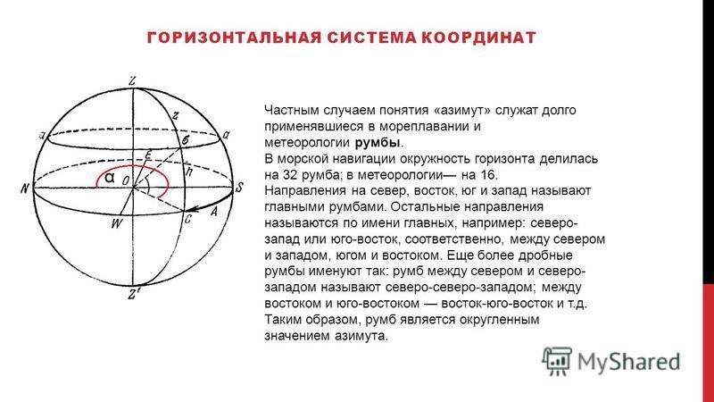 ГОРИЗОНТАЛЬНАЯ СИСТЕМА КООРДИНАТ Частным случаем понятия «азимут» служат долго применявшиеся в мореплавании и метеорологии румбы. В морской навигации окружность горизонта делилась на 32 румба; в метеорологии на 16. Направления на север, восток, юг и