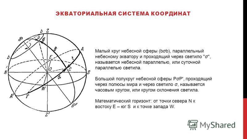 ЭКВАТОРИАЛЬНАЯ СИСТЕМА КООРДИНАТ Малый круг небесной сферы (bob), параллельный небесному экватору и проходящий через светило