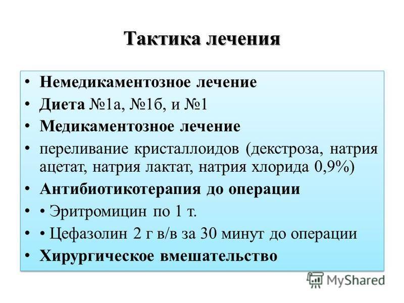 Тактика лечения Немедикаментозное лечение Диета 1 а, 1 б, и 1 Медикаментозное лечение переливание кристаллоидов (декстроза, натрия ацетат, натрия лактат, натрия хлорида 0,9%) Антибиотикотерапия до операции Эритромицин по 1 т. Цефазолин 2 г в/в за 30