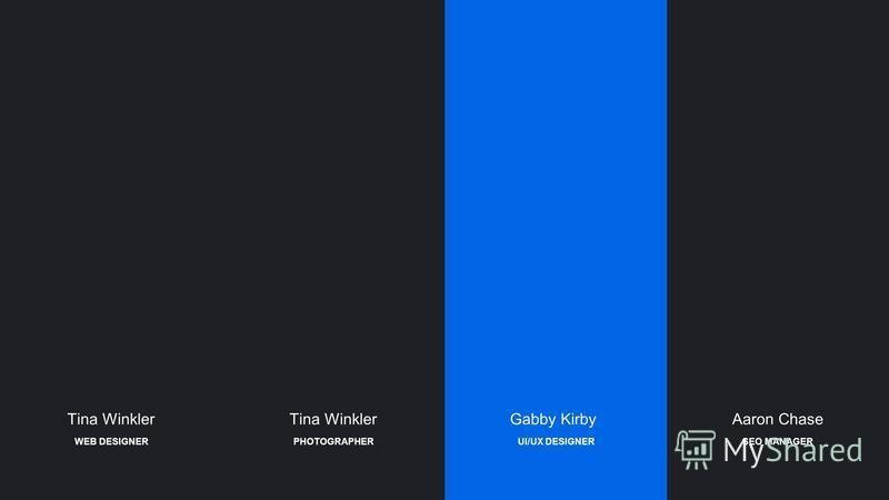 Tina Winkler Gabby KirbyAaron Chase UI/UX DESIGNERSEO MANAGERPHOTOGRAPHERWEB DESIGNER