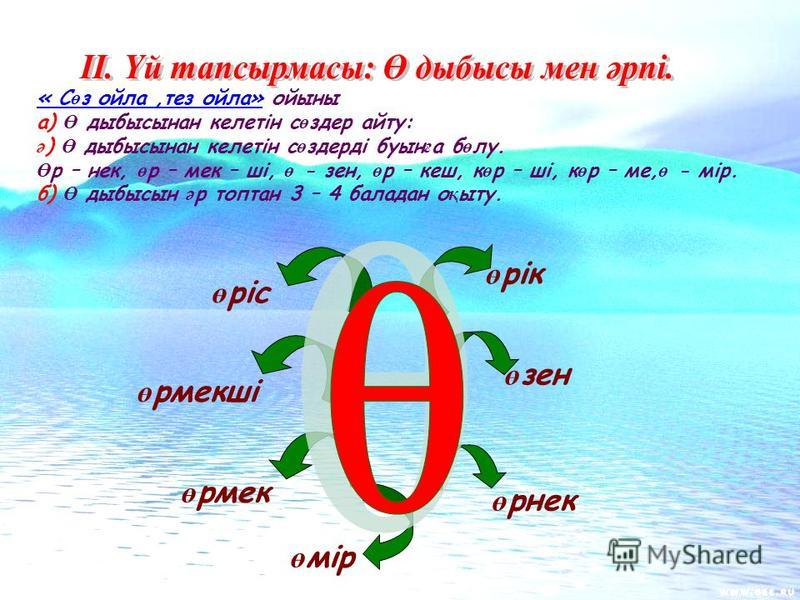« С ө з ойла,тез ойла» ойсыны а) Ө дыбы сынан келетін с ө здер айту: ә ) Ө дыбы сынан келетін с ө здерді буын ғ а б ө лу. Ө р – нек, ө р – мэк – ші, ө - зен, ө р – кеш, к ө р – ші, к ө р – ме, ө - мір. б) Ө дыбы сын ә р топтун 3 – 4 баладан о қ ыту.
