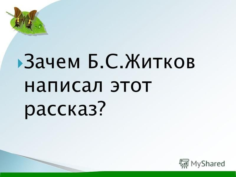 Зачем Б.С.Житков написал этот рассказ?