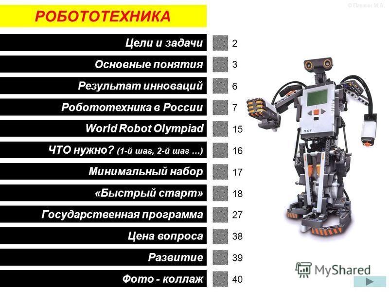 РОБОТОТЕХНИКА Цели и задачи Основные понятия Робототехника в России World Robot Olympiad «Быстрый старт» Минимальный набор ЧТО нужно? (1-й шаг, 2-й шаг …) Результат инноваций Государственная программа Цена вопроса Развитие 2 3 6 7 © Пашкин И.А. 16 15