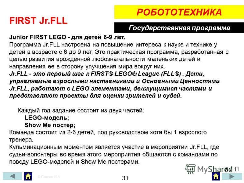 Государственная программа РОБОТОТЕХНИКА FIRST Jr.FLL Junior FIRST LEGO - для детей 6-9 лет. Программа Jr.FLL настроена на повышение интереса к науке и технике у детей в возрасте с 6 до 9 лет. Это практическая программа, разработанная с целью развития