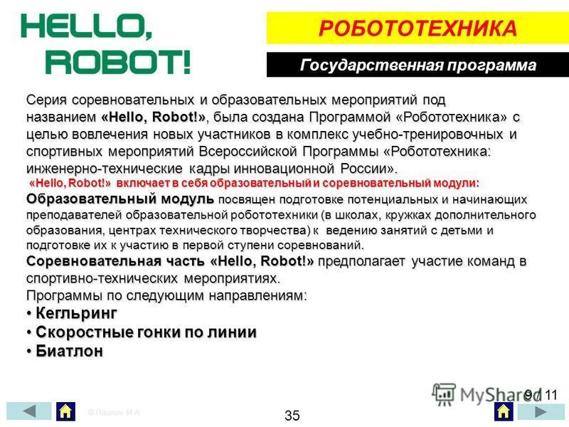 Государственная программа РОБОТОТЕХНИКА Серия соревновательных и образовательных мероприятий под названием «Hello, Robot!», была создана Программой «Робототехника» с целью вовлечения новых участников в комплекс учебно-тренировочных и спортивных мероп