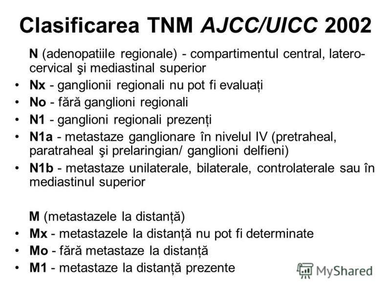 Clasificarea TNM AJCC/UICC 2002 N (adenopatiile regionale) - compartimentul central, latero- cervical şi mediastinal superior Nx - ganglionii regionali nu pot fi evaluaţi No - fără ganglioni regionali N1 - ganglioni regionali prezenţi N1a - metastaze