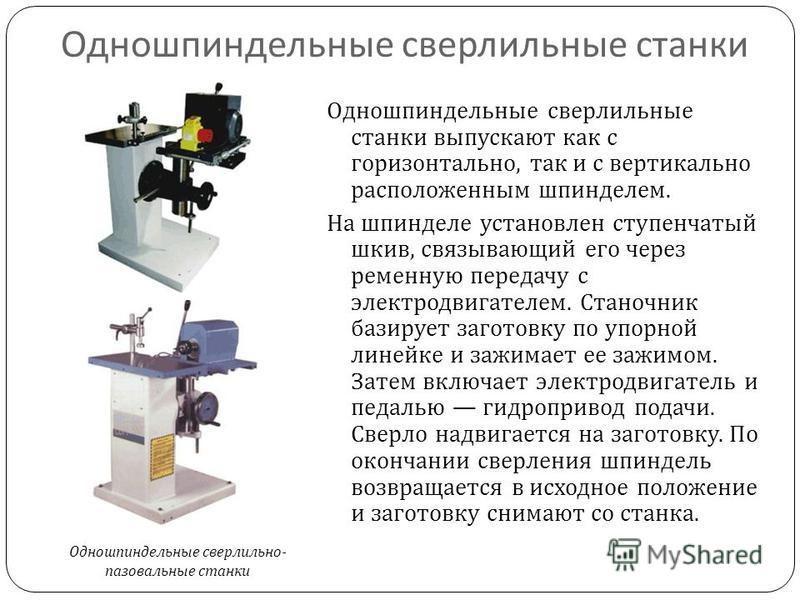 Одношпиндельные сверлильные станки Одношпиндельные сверлильные станки выпускают как с горизонтально, так и с вертикально расположенным шпинделем. На шпинделе установлен ступенчатый шкив, связывающий его через ременную передачу с электродвигателем. Ст