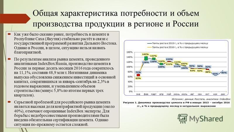 Общая характеристика потребности и объем производства продукции в регионе и России Как уже было сказано ранее, потребность в цементе в Республике Саха (Якутия) стабильно растёт в связи с государственной программой развития Дальнего Востока. Однако в