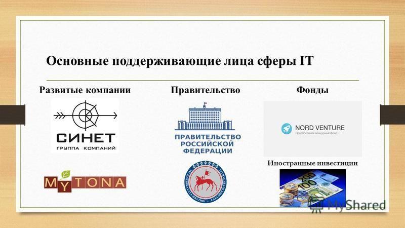 Основные поддерживающие лица сферы IT Развитые компании ПравительствоФонды Иностранные инвестиции