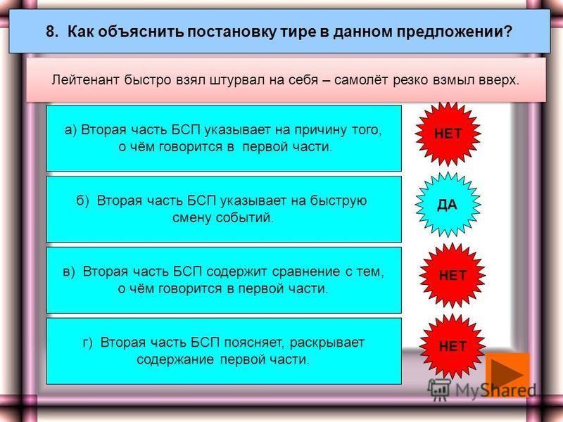 7. Как объяснить постановку двоеточия в данном предложении? а) Вторая часть БСП указывает на причину того, о чём говорится в первой части. г)Вторая часть БСП противопоставлена по содержанию первой части. ДА НЕТ Воспитательное значение русской классик