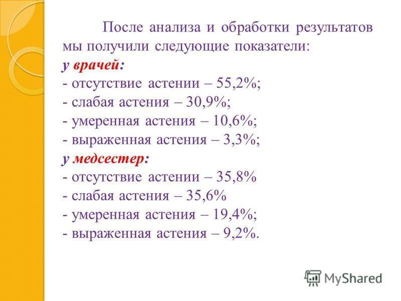 После анализа и обработки результатов мы получили следующие показатели: у врачей: - отсутствие астении – 55,2%; - слабая астения – 30,9%; - умеренная астения – 10,6%; - выраженная астения – 3,3%; у медсестер: - отсутствие астении – 35,8% - слабая аст