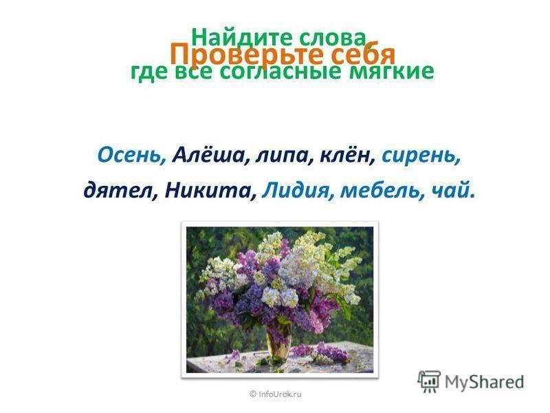 © InfoUrok.ru Твёрдые и мягкие согласные звуки образуют пары [б], [в], [г], [д], [з], [к], [л], [м], [н], [п], [р], [с], [т], [ф], [х]. [б'], [в'], [г'], [д'], [з'], [к'], [л'], [м'], [н'], [п'], [р'], [с'], [т'], [ф'], [х']. Парные твёрдые Парные мя