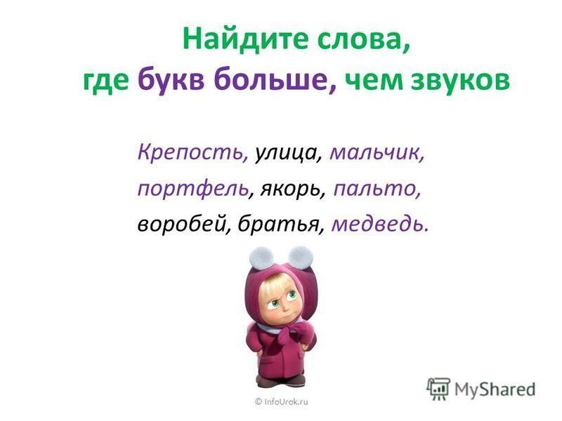 © InfoUrok.ru Разделите слова для переноса Обувь, сугроб, ландыш, обезьяна, варежка, площадка, бровь, овощи, кольцо, драчун, лейка, Илья, птенчик, компьютер.