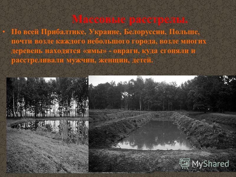 Массовые расстрелы. По всей Прибалтике, Украине, Белоруссии, Польше, почти возле каждого небольшого города, возле многих деревень находятся «ямы» - овраги, куда сгоняли и расстреливали мужчин, женщин, детей.