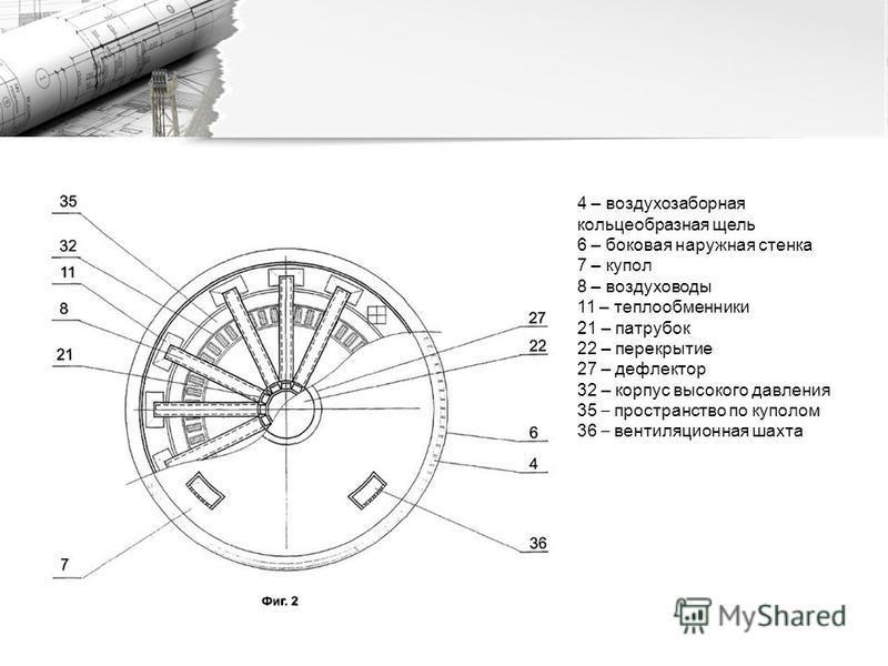 4 – воздухозаборная кольцеобразная щель 6 – боковая наружная стенка 7 – купол 8 – воздуховоды 11 – теплообменники 21 – патрубок 22 – перекрытие 27 – дефлектор 32 – корпус высокого давления 35 – пространство по куполом 36 – вентиляционная шахта