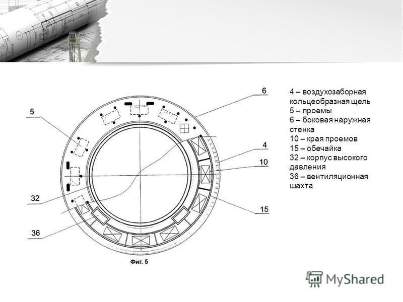 4 – воздухозаборная кольцеобразная щель 5 – проемы 6 – боковая наружная стенка 10 – края проемов 15 – обечайка 32 – корпус высокого давления 36 – вентиляционная шахта