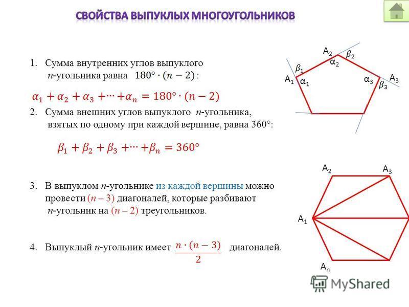 1. Сумма внутренних углов выпуклого п-угольника равна : 2. Сумма внешних углов выпуклого п-угольника, взятых по одному при каждой вершине, равна 360°: 3. В выпуклом п-угольнике из каждой вершины можно провести (п – 3) диагоналей, которые разбивают п-