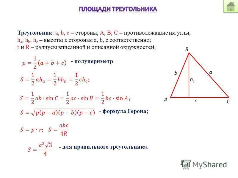 Треугольник: a, b, c – стороны; А, В, С – противолежащие им углы; h a, h b, h c – высоты к сторонам a, b, c соответственно; r и R – радиусы вписанной и описанной окружностей; - полупериметр. - формула Герона; - для правильного треугольника. hchc a b