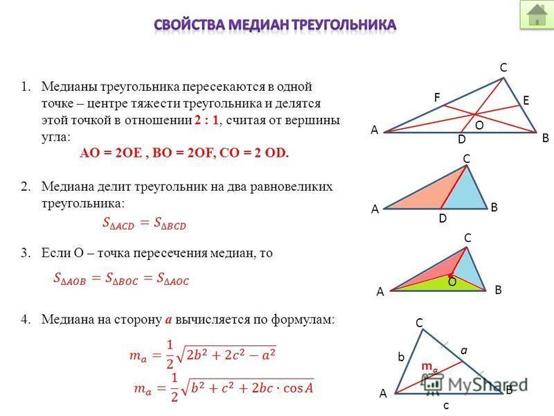 1. Медианы треугольника пересекаются в одной точке – центре тяжести треугольника и делятся этой точкой в отношении 2 : 1, считая от вершины угла: AO = 2OE, BO = 2OF, CO = 2 OD. 2. Медиана делит треугольник на два равновеликих треугольника: 3. Если О