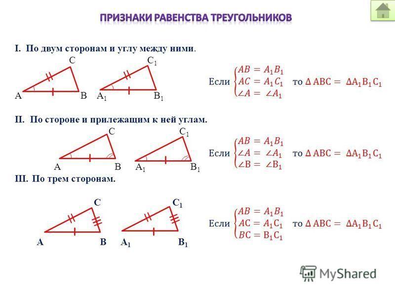 I. По двум сторонам и углу между ними. C C 1 A B A 1 B 1 II. По стороне и прилежащим к ней углам. C C 1 A B A 1 B 1 III.По трем сторонам. C C 1 A B A 1 B 1