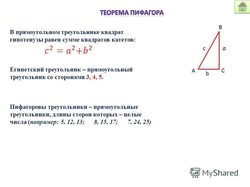 А С a В b c В прямоугольном треугольнике квадрат гипотенузы равен сумме квадратов катетов: Египетский треугольник – прямоугольный треугольник со сторонами 3, 4, 5. Пифагоровы треугольники – прямоугольные треугольники, длины сторон которых – целые чис