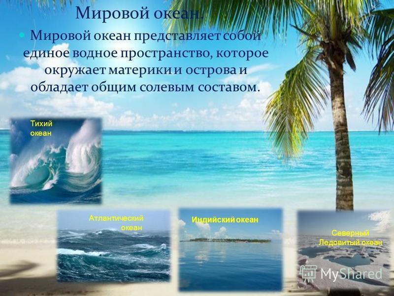 Мировой океан. Мировой океан представляет собой единое водное пространство, которое окружает материки и острова и обладает общим солевым составом. Тихий океан Атлантический океан Северный Ледовитый океан Индийский океан