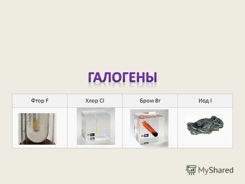 Фтор FХлор Cl Бром Br Иод I