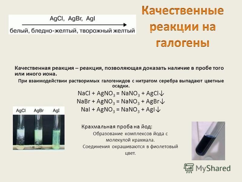 Качественная реакция – реакция, позволяющая доказать наличие в пробе того или иного иона. При взаимодействии растворимых галогенидов с нитратом серебра выпадают цветные осадки. NaCl + AgNO 3 = NaNO 3 + AgCl NaBr + AgNO 3 = NaNO 3 + AgBr NaI + AgNO 3