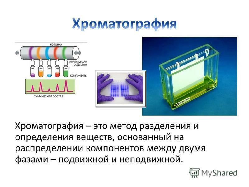 Хроматография – это метод разделения и определения веществ, основанный на распределении компонентов между двумя фазами – подвижной и неподвижной.
