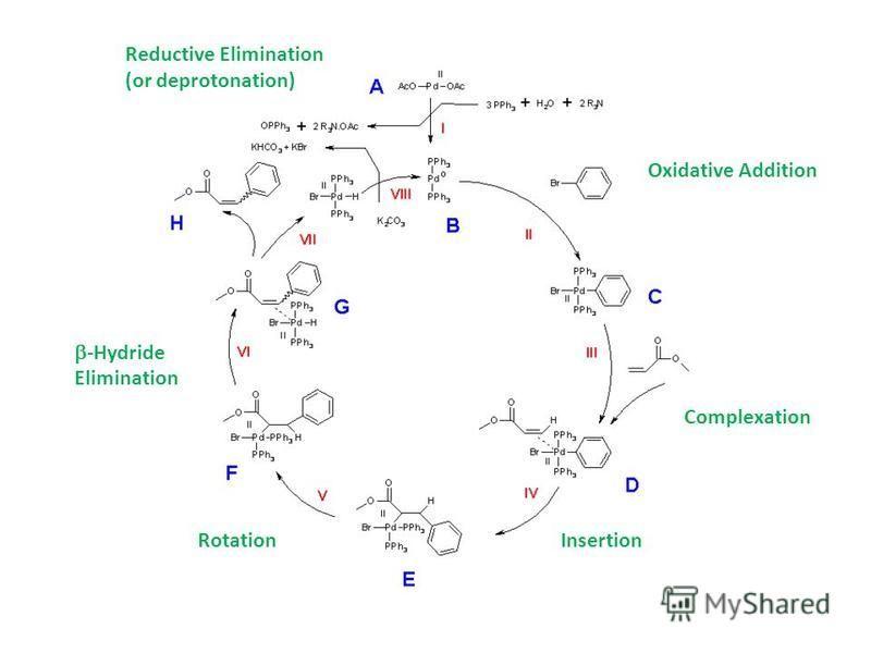 Oxidative Addition Complexation InsertionRotation -Hydride Elimination Reductive Elimination (or deprotonation)