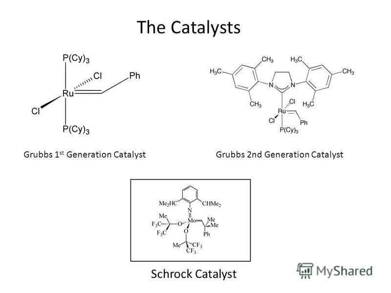 Grubbs 1 st Generation CatalystGrubbs 2nd Generation Catalyst The Catalysts Schrock Catalyst