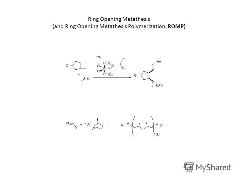 Ring Opening Metathesis (and Ring Opening Metathesis Polymerization, ROMP)