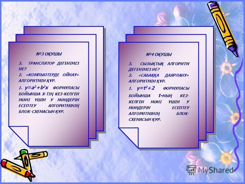 1 ОҚУШЫ 3. АЛГОРИТМ ДЕГЕНІМІЗ НЕ? 2. «ҚАЗЫНАНЫ ІЗДЕУ» АЛГОРИТМІН ҚҰР. 1. y=ax 2 +b ФОРМУЛАСЫ БОЙЫНША Х-ТІҢ КЕЗ-КЕЛГЕН МӘНІ ҮШІН У МӘНДЕРІН ЕСЕПТЕУ АЛГОРИТМІНІҢ БЛОК-СХЕМАСЫН ҚҰР. 1 ОҚУШЫ 3. АЛГОРИТМ ДЕГЕНІМІЗ НЕ? 2. «ҚАЗЫНАНЫ ІЗДЕУ» АЛГОРИТМІН ҚҰР. 1