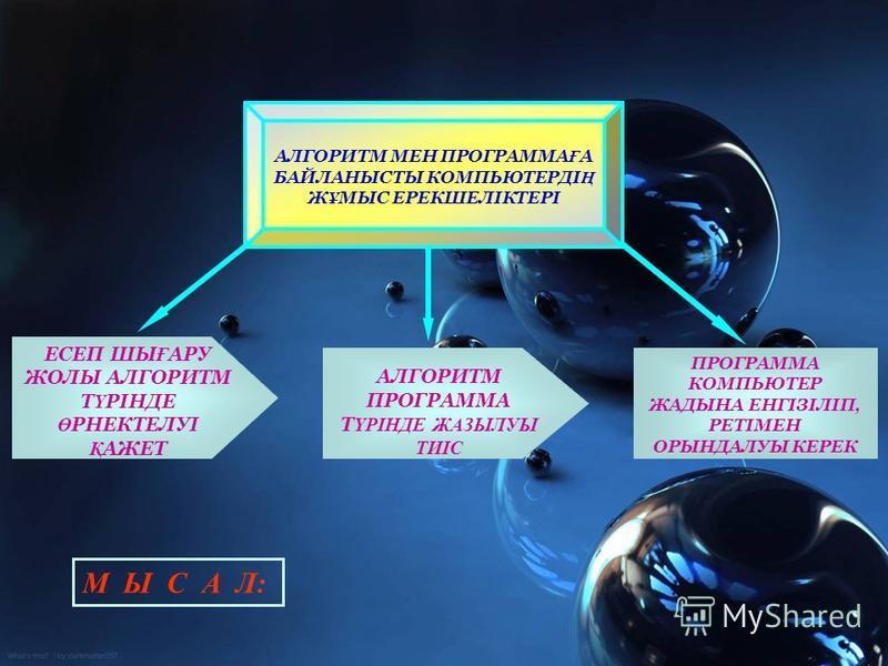 Алгоритмді орындаушиның рөлін, негізінен, адам немесе автоматтандырылған құрылғы, яғни компьютер, робот т.б. атқарады. МЫСАЛ: У=(ax + b)(cx - d) ФУНКЦИЯСЫН ЕСЕПТЕУ ТӨМЕНДЕГІ ҚАРАПАЙЫМ ІС- ӘРЕКЕТТЕРДЕН ТҰРАДЫ: анны х-ка көбейту, оны R1 деп белгіле;. о