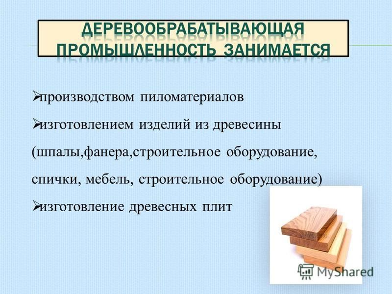 производством пиломатериалов изготовлением изделий из древесины (шпалы,фанера,строительное оборудование, спички, мебель, строительное оборудование) изготовление древесных плит