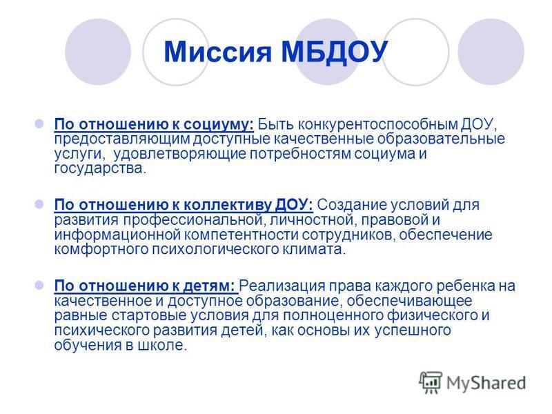 Миссия МБДОУ По отношению к социуму: Быть конкурентоспособным ДОУ, предоставляющим доступные качественные образовательные услуги, удовлетворяющие потребностям социума и государства. По отношению к коллективу ДОУ: Создание условий для развития професс