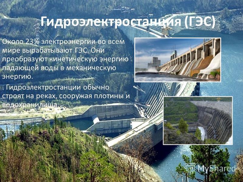Гидроэлектростанция (ГЭС) Около 23% электроэнергии во всем мире вырабатывают ГЭС. Они преобразуют кинетическую энергию падающей воды в механическую энергию.. Гидроэлектростанции обычно строят на реках, сооружая плотины и водохранилища.