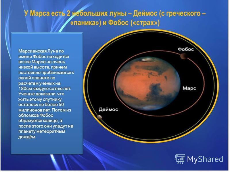 У Марса есть 2 небольших луны – Деймос (с греческого – «паника») и Фобос («страх») Марсианская Луна по имени Фобос находится возле Марса на очень низкой высоте, причем постоянно приближается к своей планете по расчетам ученых на 180 см каждую сотню л