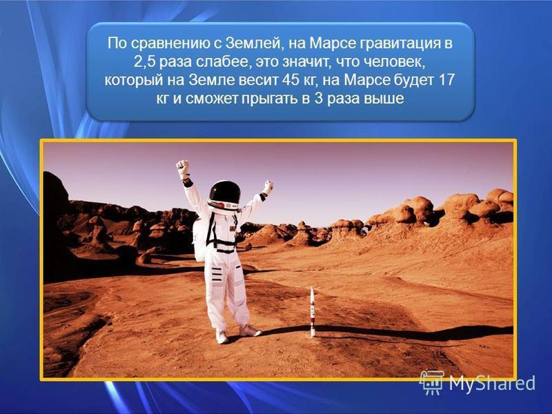 По сравнению с Землей, на Марсе гравитация в 2,5 раза слабее, это значит, что человек, который на Земле весит 45 кг, на Марсе будет 17 кг и сможет прыгать в 3 раза выше