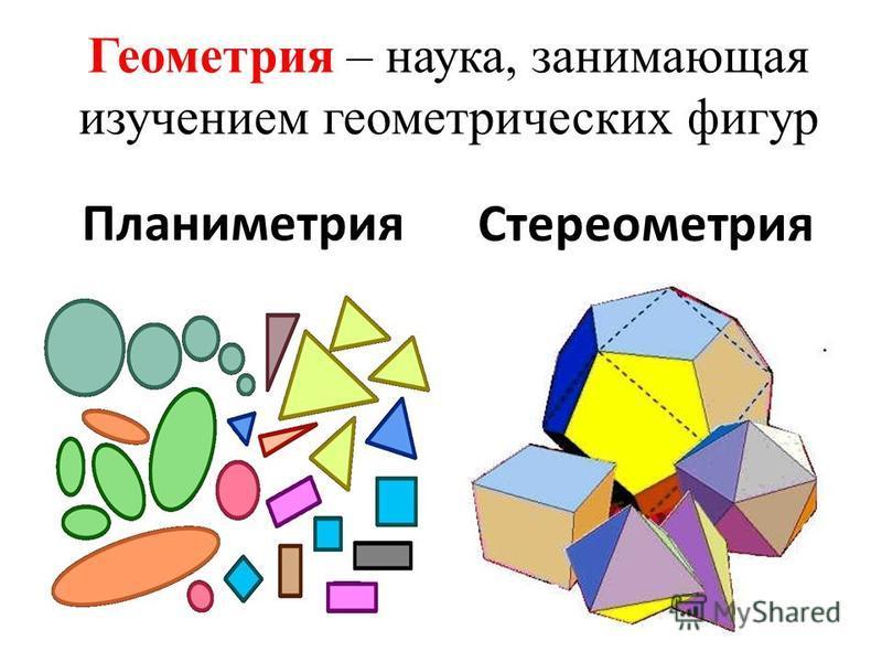 Геометрия – наука, занимающая изучением геометрических фигур Планиметрия Стереометрия