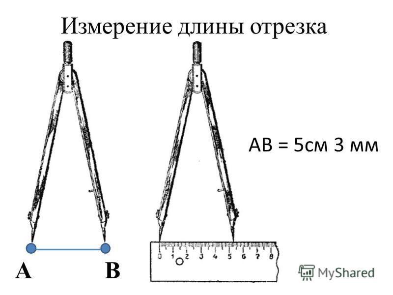 Измерение длины отрезка AB AB = 5 см 3 мм