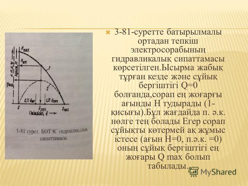 3-81-суретте батырылмалы ортадан тепкіш электросорабының гидравликалық сипаттамасы көрсетілген.Ысырма жабық тұрған кезде және сұйық бергіштігі Q=0 болғпанда,сорап ең жеғарғы ағынды H тудырады (1- қисығы).Бұл жағдайда п. ә.к. нөлге тең болады Егер сор