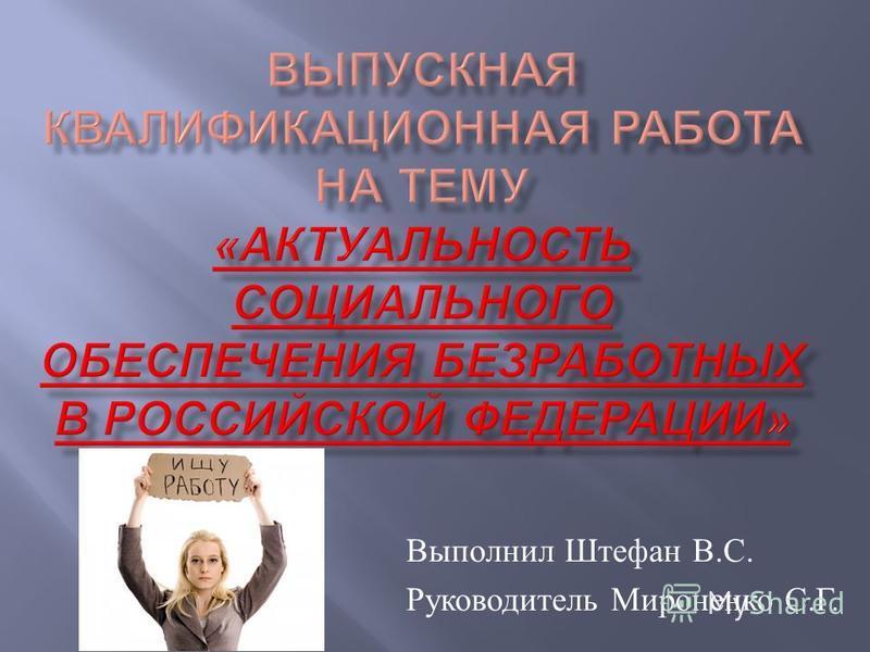 Выполнил Штефан В. С. Руководитель Мироненко С. Г.
