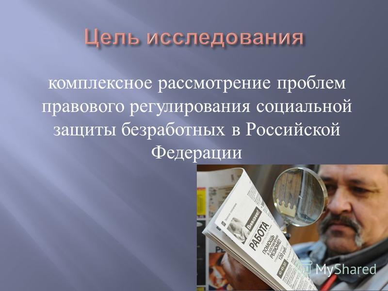 комплексное рассмотрение проблем правового регулирования социальной защиты безработных в Российской Федерации